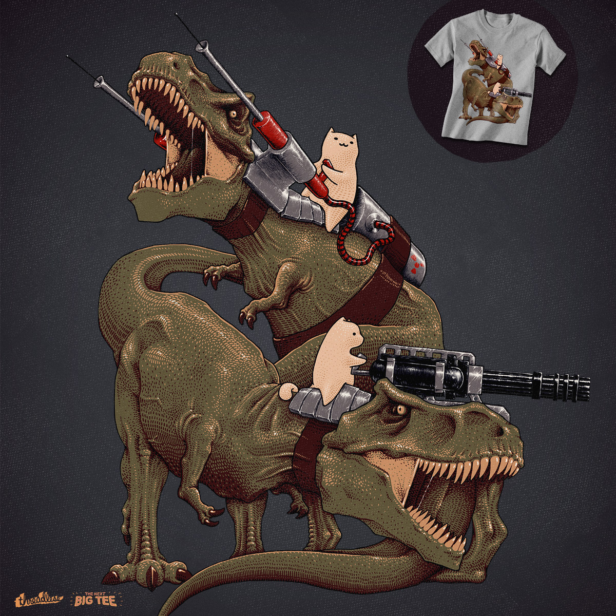 Cats Riding a T-Rexs! by jameses_x on Threadless