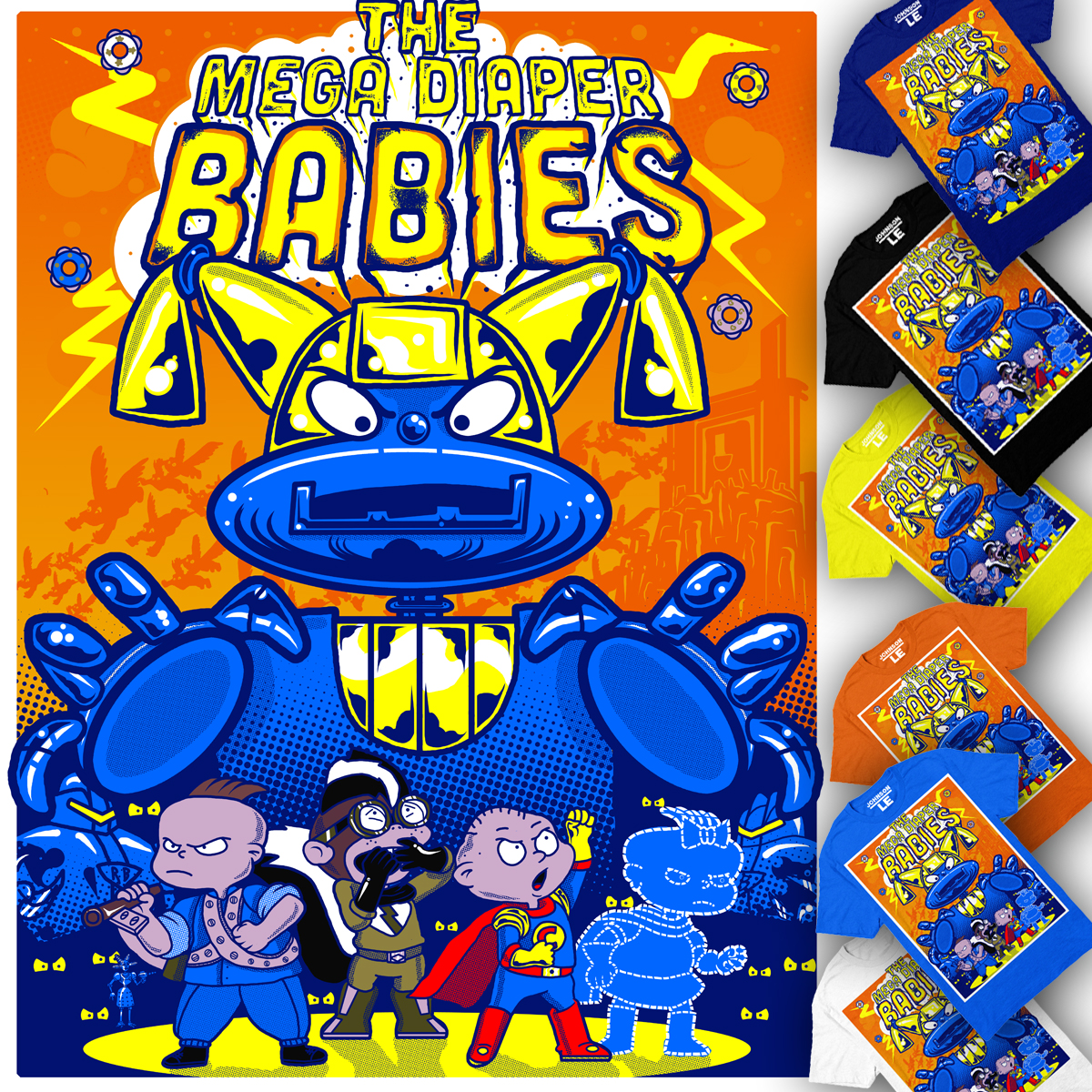The Mega Diaper Babies. The babies pretend to be the characters from The Mega Hyper Heroes.