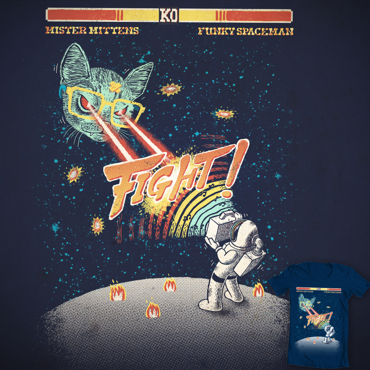 Mr Mittens VS funky spaceman by c-royal on Threadless